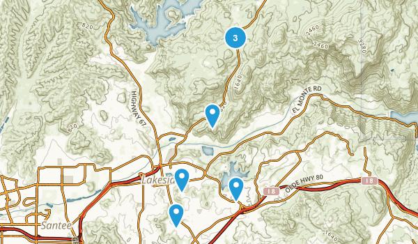 Lakeside, California Hiking Map