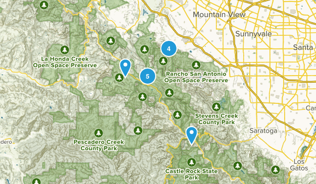 Los Altos, California Trail Running Map