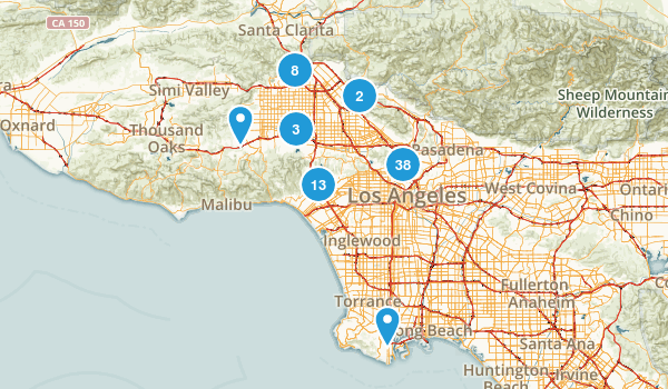 Los Angeles, California Dogs On Leash Map