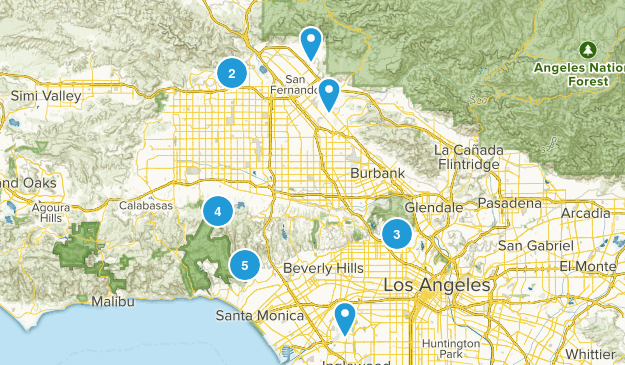 Los Angeles, California Mountain Biking Map