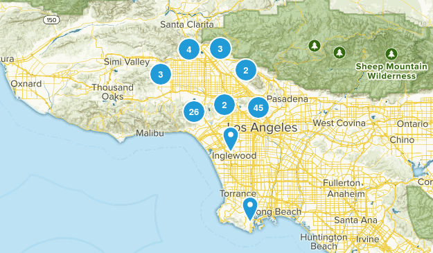 Los Angeles, California Nature Trips Map