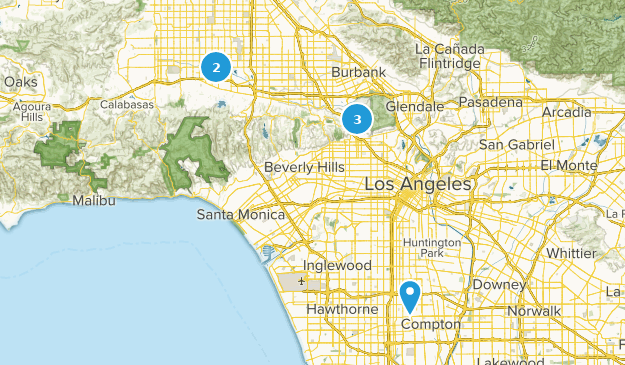 Los Angeles, California Paved Map