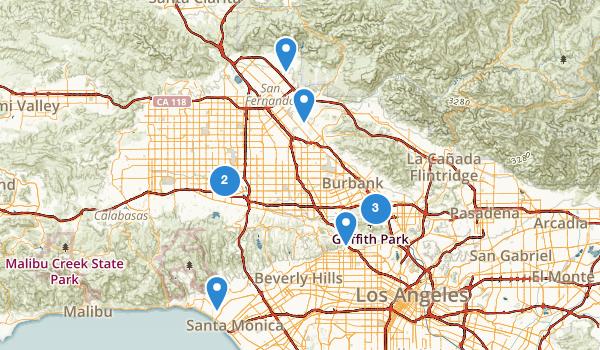 Los Angeles, California Road Biking Map