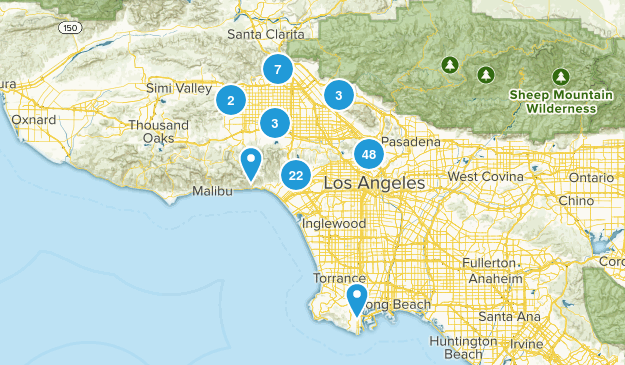 Los Angeles, California Trail Running Map