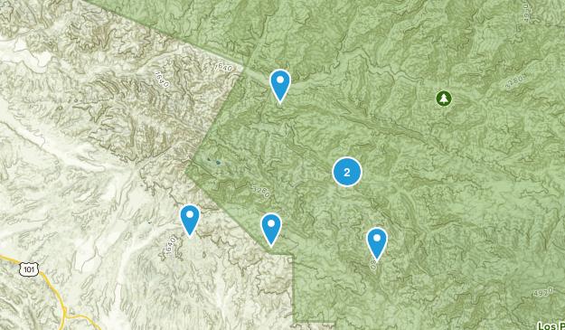 Los Olivos, California Hiking Map