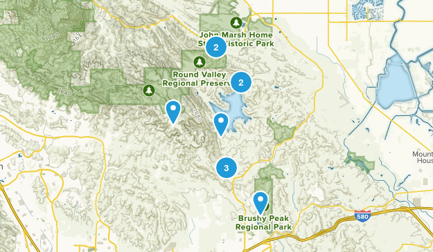 Los Vaqueros Reservoir & Watershed, California Hiking Map