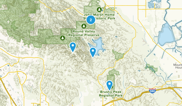 Los Vaqueros Reservoir & Watershed, California Trail Running Map
