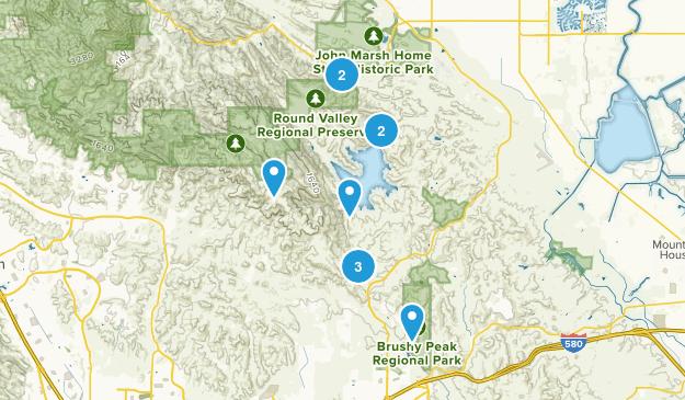 Los Vaqueros Reservoir & Watershed, California Views Map
