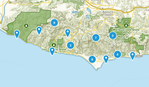 Malibu, California Dogs On Leash Map