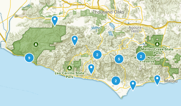 Malibu, California Mountain Biking Map