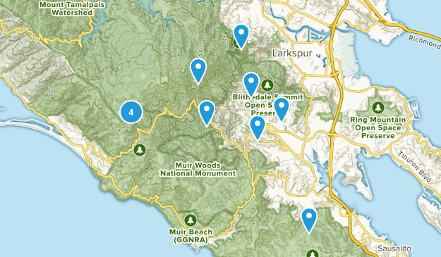 Mill Valley, California Dogs On Leash Map