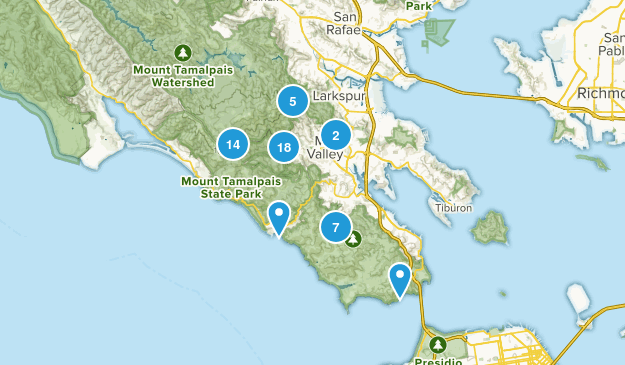 Mill Valley, California Trail Running Map