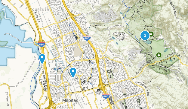 Milpitas, California Dogs On Leash Map