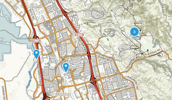 Milpitas, California Trail Running Map