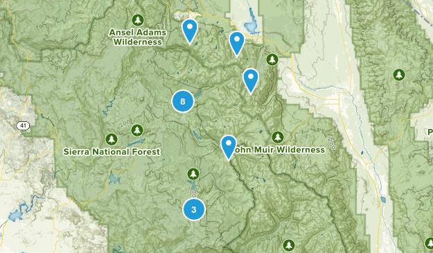 Mono Hot Springs, California Hiking Map