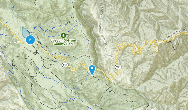 Mount Hamilton, California Mountain Biking Map