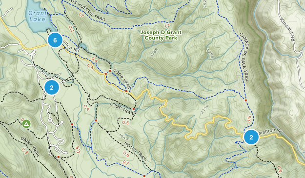 Mount Hamilton, California Trail Running Map