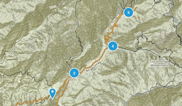 Mt Baldy, California Trail Running Map