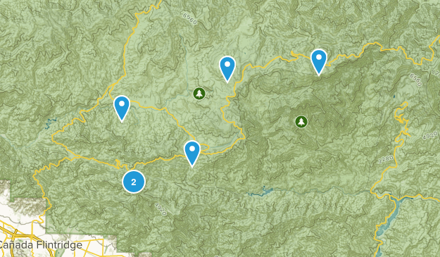 Mt Wilson, California Mountain Biking Map