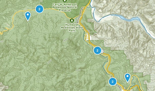 Myers Flat, California Trail Running Map