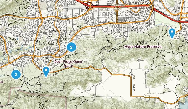 Newbury Park, California Dogs On Leash Map