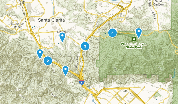 Newhall, California Trail Running Map