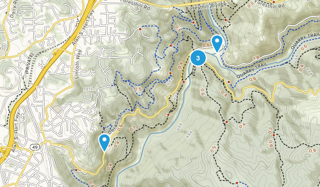 North Auburn, California Hiking Map