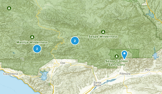 Ojai, California Waterfall Map