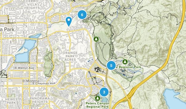 Orange, California Trail Running Map