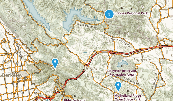 Orinda, California Mountain Biking Map