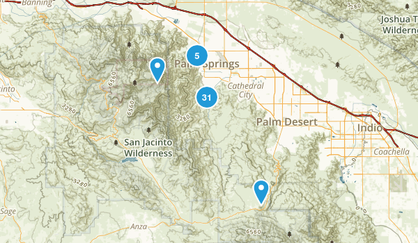 Palm Springs, California Hiking Map