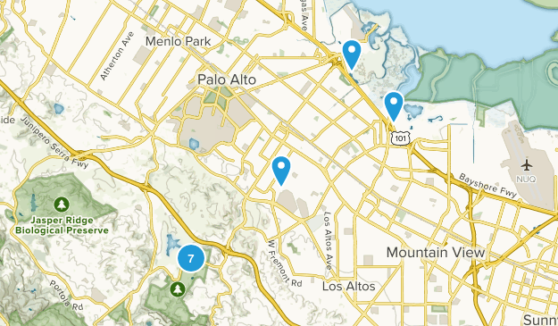 Palo Alto, California Dogs On Leash Map