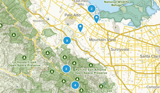 Palo Alto, California Hiking Map
