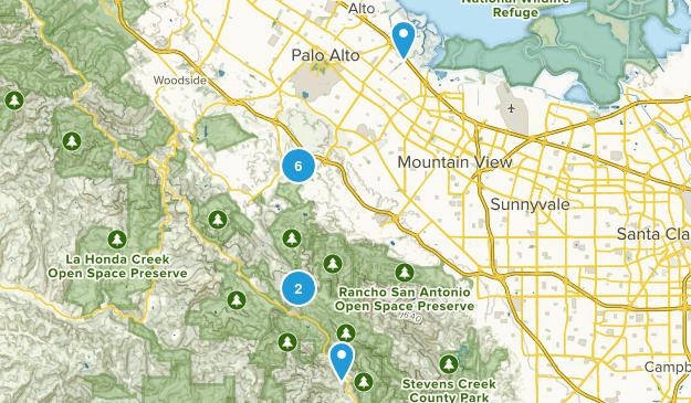 Palo Alto, California Mountain Biking Map