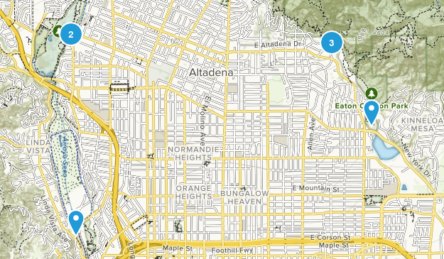 Pasadena, California Nature Trips Map