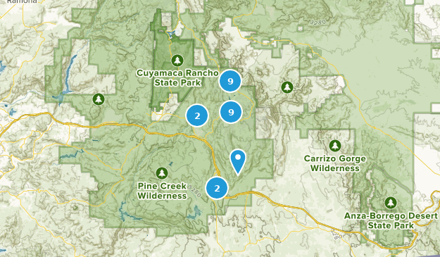 Pine Valley, Kalifornien Hiking Map