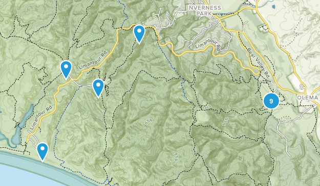 Point Reyes Station, California Backpacking Map