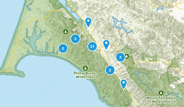 Point Reyes Station, California Hiking Map