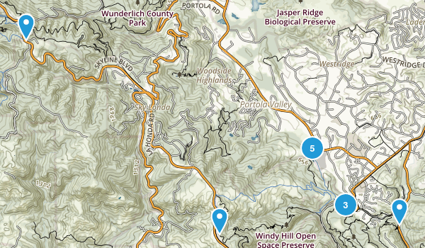 Portola Valley, California Trail Running Map