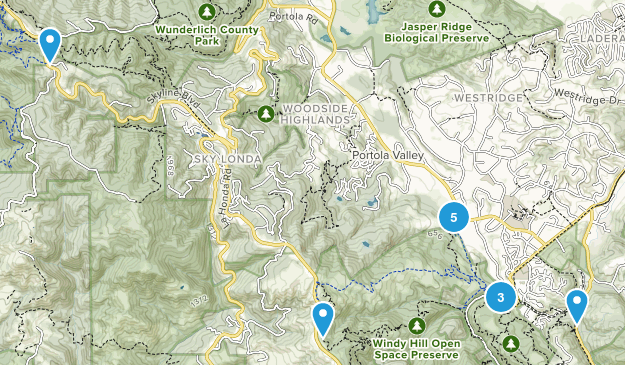 Portola Valley, California Trail Running Map