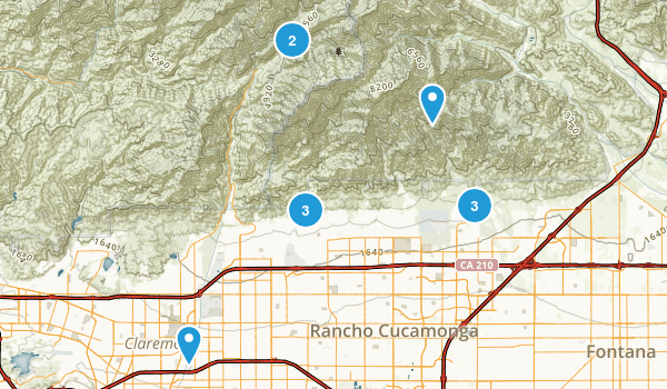 Rancho Cucamonga, California Hiking Map