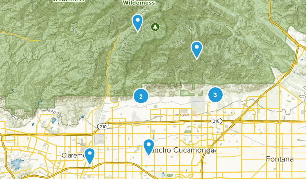 Rancho Cucamonga, California Trail Running Map