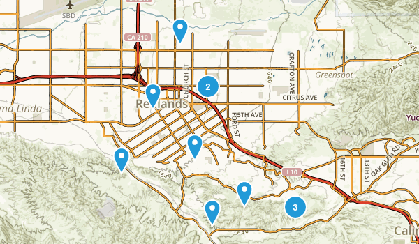 Redlands, California Dogs On Leash Map