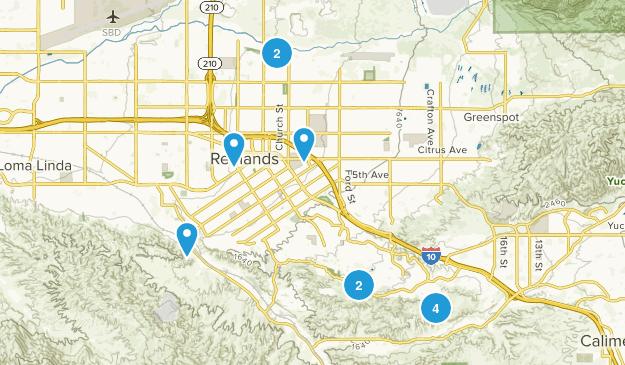Redlands, California Trail Running Map