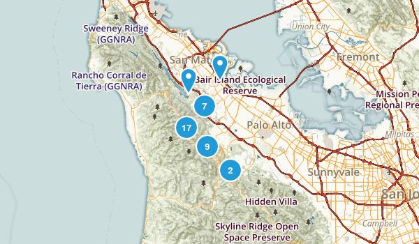 Redwood City, California Hiking Map