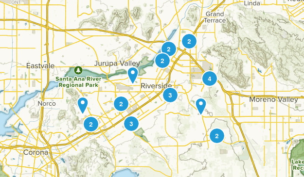 Riverside, California Dogs On Leash Map