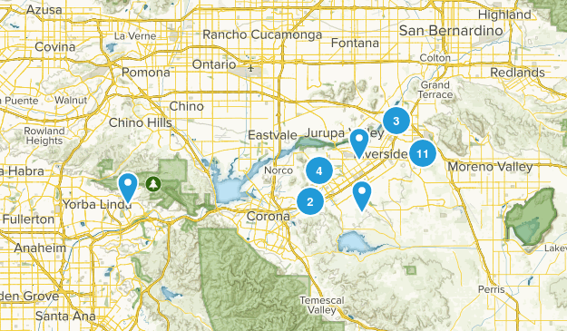 Riverside, California Hiking Map