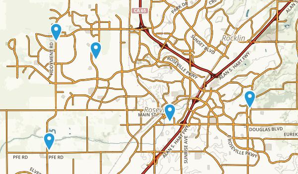Roseville, California Trail Running Map