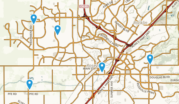 Roseville, California Walking Map