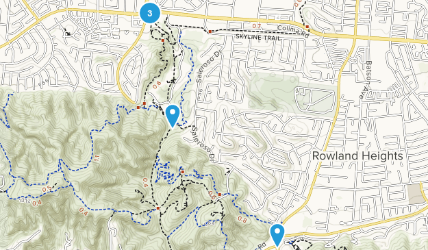 Rowland Heights, California Dogs On Leash Map